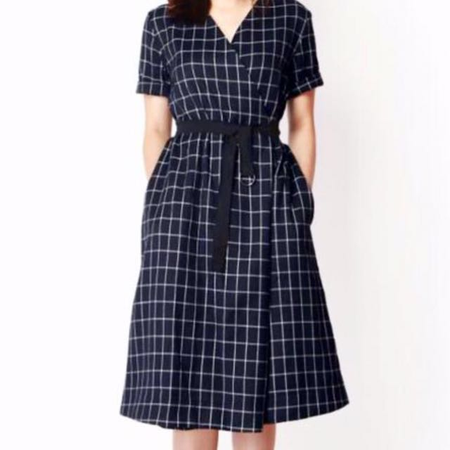 Plaid wrap around dress
