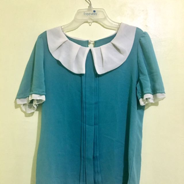 Preloved! Blue Blouse with Collar