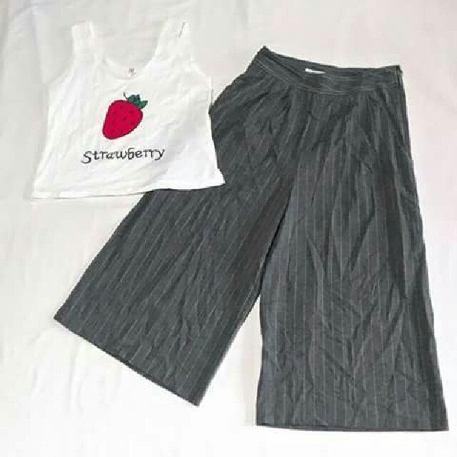 SET CULOTTES AND STRAWBERRY CROP TOP