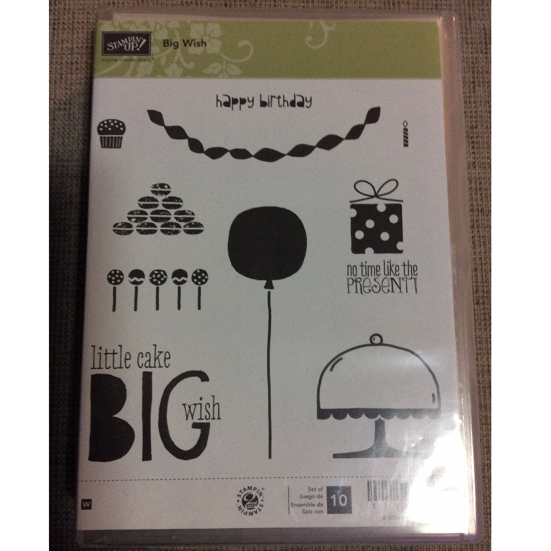 Stampin' Up! Big Wish Wood Mount Stamp Set NEW - Limited Edition