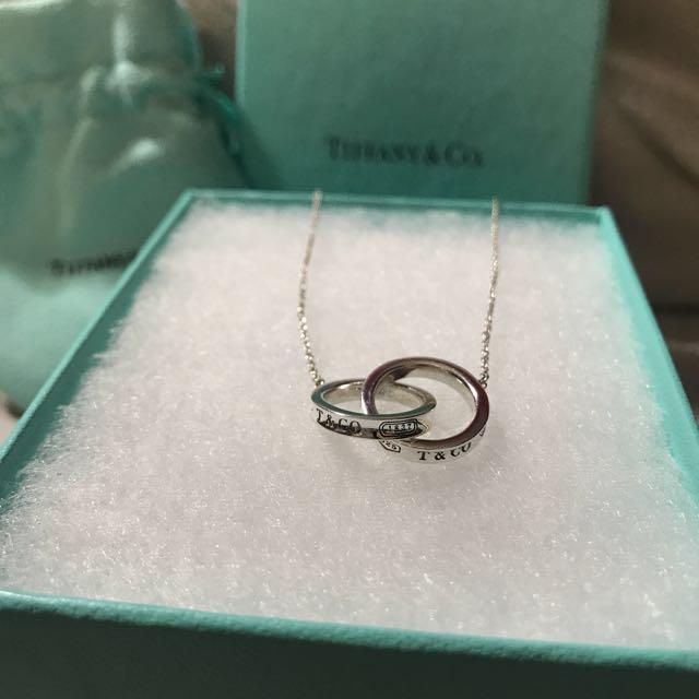 "TIFFANY & CO 18"" interlocking pendant necklace"