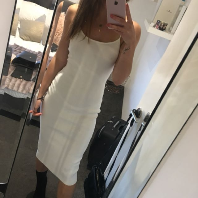 White fitted midi dress