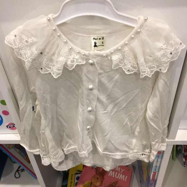 White lace Cardin with pants (can sell separately)