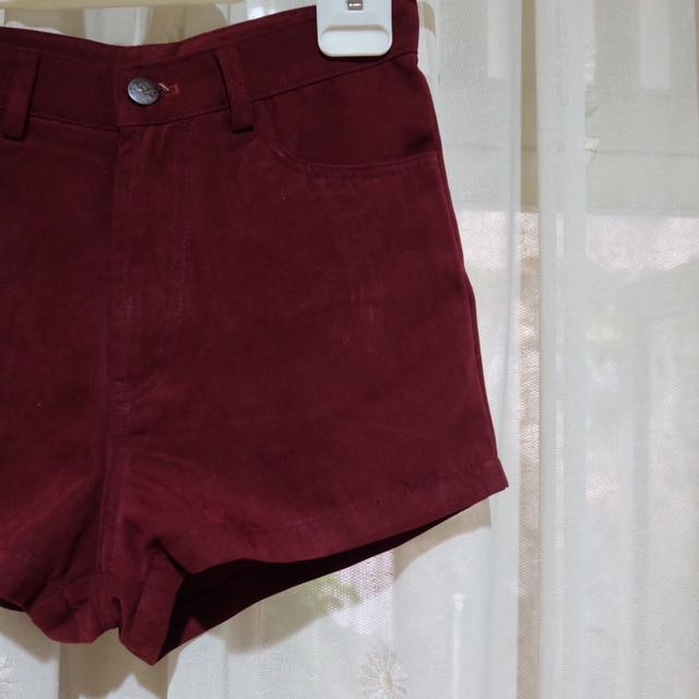 Wine Velvet Highwaist Jeans Pants