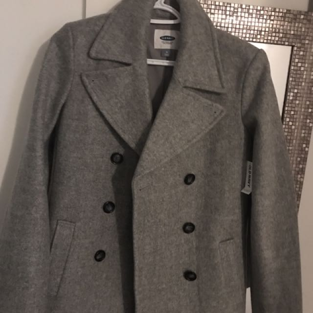 Women grey peacoat. Size M - medium