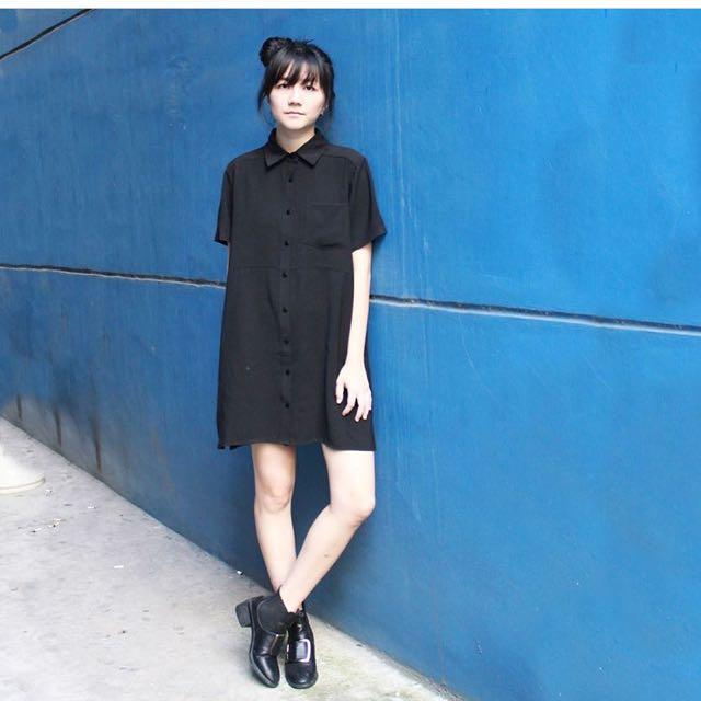 YHF Easy AF Shirt Dress in Black