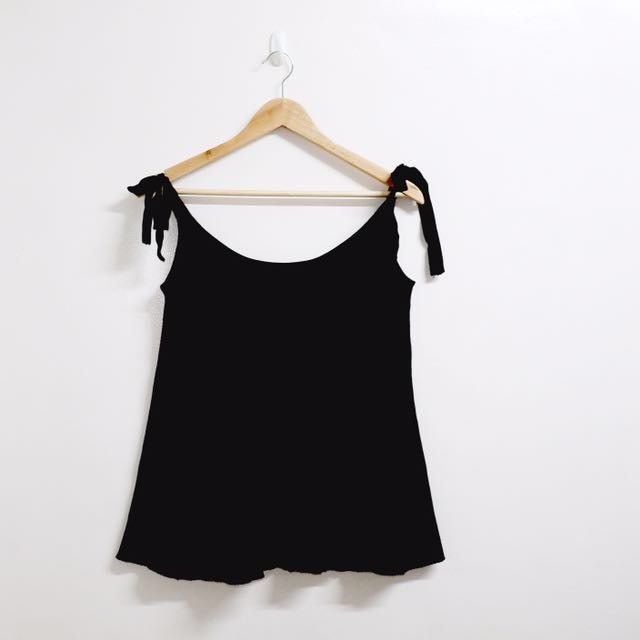 Zara Knit Top With Ribbon Tie Shoulders