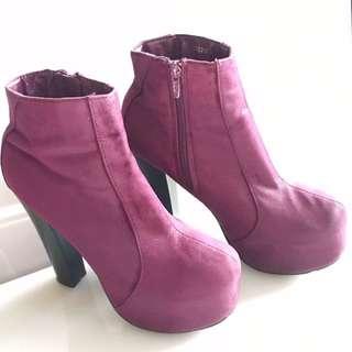 Stylo Purple Suede Concealed Platform Block Heels Ankle Boots Size 8