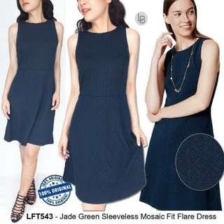 LOFT Jade Green Sleeveless Mosaic Fit Flare Dress