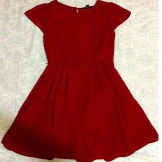 Red capped sleeve dress