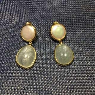 Pearl and Aquamarine Earrings