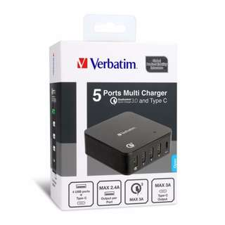 Verbatim 5ports multi charger with qc 3.0 and type c