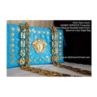 100% Rare Iconic GIANNI VERSACE Turquoise Blue Medusa Studded Gold Chain Beyonce Lady Gaga Bag