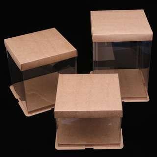 Kraft + transparent cake box