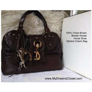 100% Chloe Brown Bowler Kerala Horse Shoe Sphere Charm Bag
