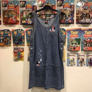 Disney 米奇刺繡 古著吊帶裙
