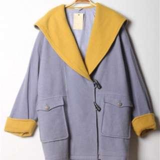 日本 古著 紫藕黃領撞色冬款大衣
