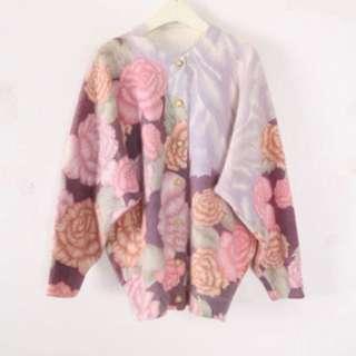 日本 古著 淺色系花紋外套