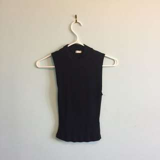 Garage ribbed mock-neck shirt