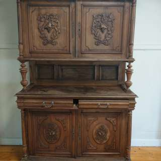 Early 1800 French Solid Walnut Double Cabinet