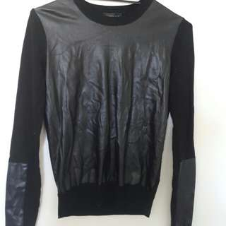 Black leather patch jumper