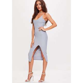 Missguided size 6 grey bodycon slit dress