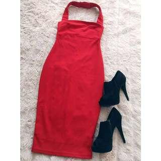 Dissh Red Halter Midi Bodycon Dress XS 6