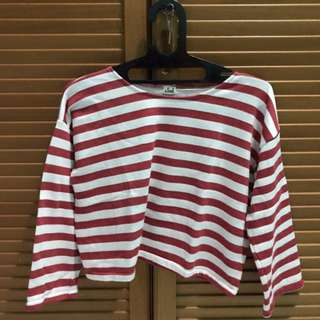 Baju Crop Tee Stripes Merah