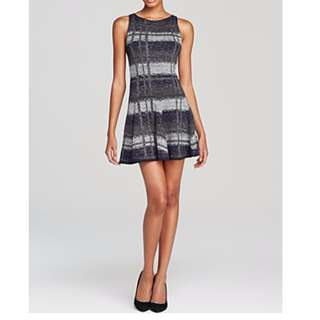 Alice + Olivia Zoey Plaid Gray Wool Metallic Party Cocktail Drop Waist Dress LRG