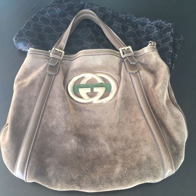 100% Authentic Gucci Britt Suede Large Bag with Leather Strap Aritzia Shopbop