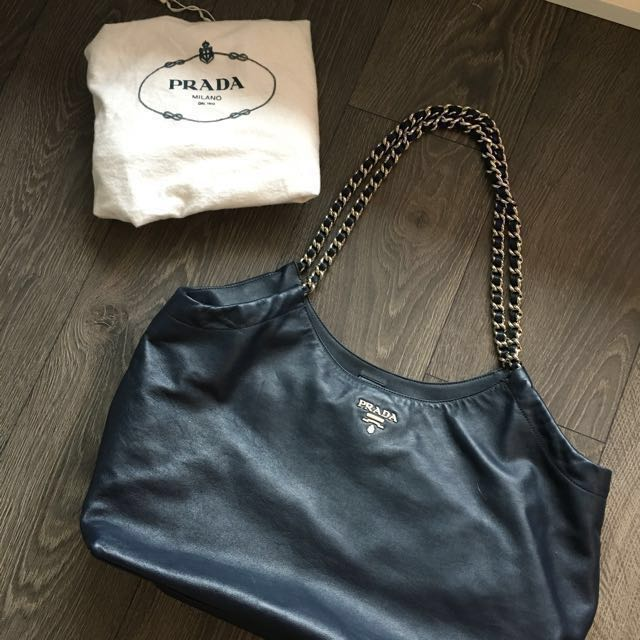100% AUTHENTIC Prada Soft Calfskin Bambu Chain Tote Bag