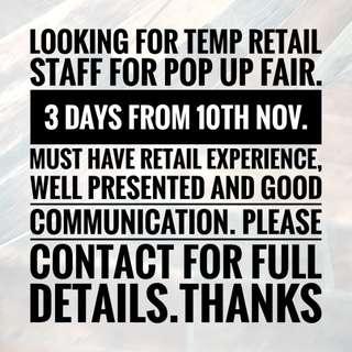 Retail Assistant 3 days
