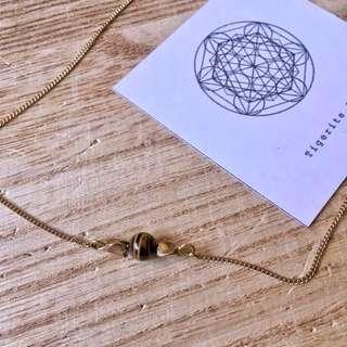🇿🇦Tigerite Stone Necklace虎眼石太陽輪純銅項鍊