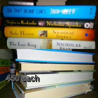 John Green The Fault In Our Stars  Nicholas Sparks Last Song Nights in Rodanthe Safe Haven  450 Each Hardbound, Very Good To Excellent Condition