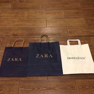 Paper Bag Zara, Adidas, Innisfree