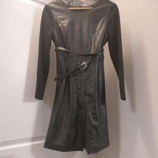 Black mostly leather with leather belt dress