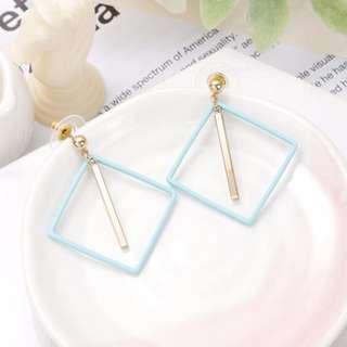 🚚 兩件優惠🎉多色 超美 韓風 韓款 馬卡龍色系 方形 幾何 防敏 鋼針 耳環
