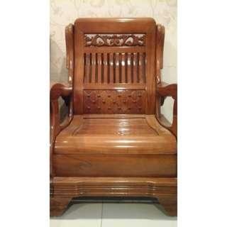 原木單人座椅