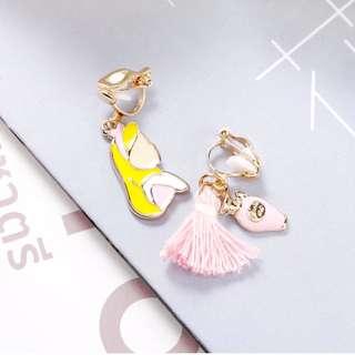 🚚 兩件優惠🎉 兩色 可愛 甜美 韓風 韓款 童話 愛麗絲 無耳洞 夾式耳環