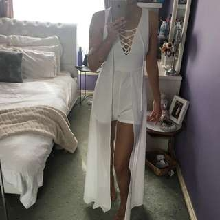 White Playsuit With Maxi Overlay Size 6