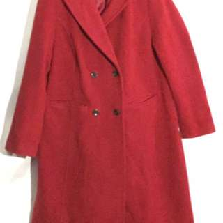 Lands' End stunning red wool/cashmere blend Double Breasted long coat - fully lined - button closure - side hand pockets. Size 16W