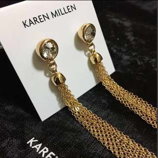 (NEW) Karen Millen Jewel Tassel Gold Earrings