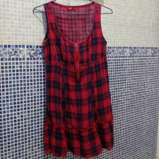 [包郵]Esprit紅藍格仔A-line背心裙