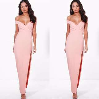Peach Blush Off Shoulder Maxi Dress
