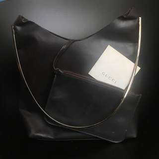 Gucci brown leather bag hand carry bag 手袋 啡色 皮袋 新舊如圖