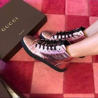 「101專櫃購入」Gucci粉紅亮片半筒靴