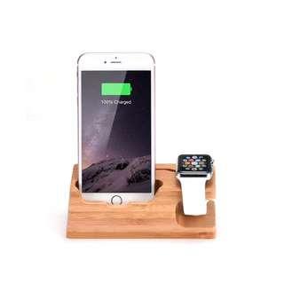木製蘋果手錶連電話充電座 3 USB out 包郵