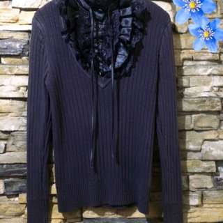 Knitted Ruffle Long Sleeves