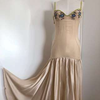 Nicola Finetti designer 100% silk maxi dress size 8 sheer and satin cream beige drop waist