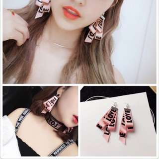 Ulzzang Korean Earrings pink design love